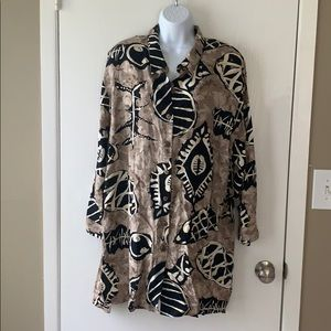 Vintage Button Up Tribal Shirt Size 18W/38